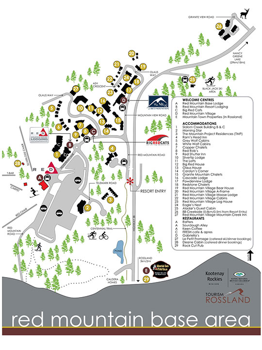 The Village at Red Mountain accommodations map